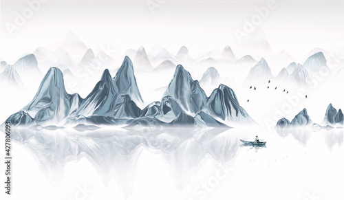 Chinese style blue mood landscape painting #427806093
