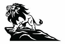 Lion Logo Roaring On The Mountain Hill Vector Illustration