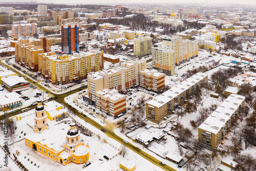 Fototapeta Aerial view of modern residential districts of Russian city of Penza overlooking