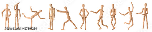 Fotografia Collage of wooden mannequins in different positions on white background