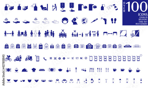 Stampa su Tela Over 100 ICONS COVID-19,Delivery,Take Out, Restaurant