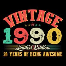 1990 Vector Vintage Retro Tshirt Design