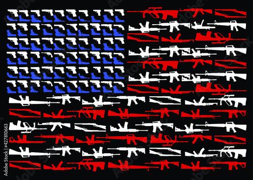 military concept assault and sniper rifles, pistal, shot gun shape of american f Fototapet