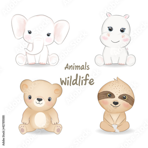 Naklejka premium Cute animals wildlife set, animal watercolor illustration