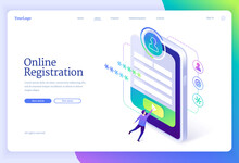 Online Registration Isometric Landing Page. Tiny Man Signing Up Or Login To Internet Account On Huge Smartphone With App Interface On Screen. Secure Authentication In Networks, 3d Vector Web Banner