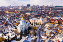 Aerial Panoramic View Of Old Quarters Of Voronezh And Alekseev-Akatov Convent, One Of Oldest Monasteries On Winter Day, Russia