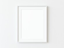 One White Thin Rectangular Vertical Frame Hanging On A White Textured Wall Mockup, Flat Lay, Top View, 3D Illustration