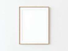 Light Wood Thin Rectangular Vertical Frame Hanging On A White Textured Wall Mockup, Flat Lay, Top View, 3D Illustration