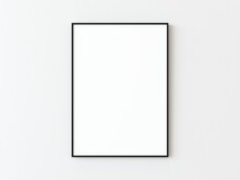 One Black Thin Rectangular Vertical Frame Hanging On A White Textured Wall Mockup, Flat Lay, Top View, 3D Illustration