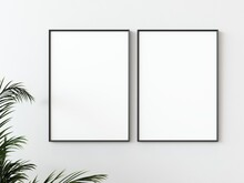 Two Grey Wooden Rectangular Vertical Frames Hanging On A White Textured Wall Mockup With Palm Leaves To The Left, Flat Lay, Top View, 3D Illustration