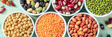 Pulses Panorama. Many Different Legumes, Shot From Above