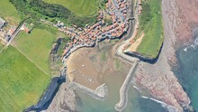 Staithes Harbour From Above, Birds Eye View