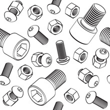 Vector Seamless Pattern With Bolts, Nuts And Screw With Cylinder Head On White Background