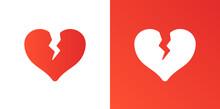 Broken Heart Or Divorce Flat Icon.
