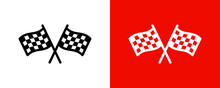 Finish Line Vector Icon. Checkered Flag For Car Racing Illustration.
