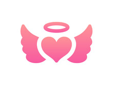 Angel Heart And Wings On Pink Color Vector Illustration.