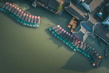 Aerial Landscapes Of Jinxi Village, Row Of Traditional Wooden Boat, A Historic Canal Town In Southwest Kunshan, Jiangsu Province, China