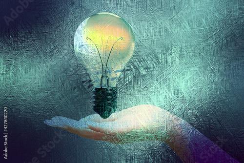 Fototapeta Eine Hand und eine Glühbirne obraz