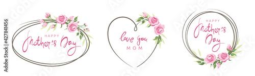 Fototapeta Mothers Day cards. Pink roses, set frames. Vector illustration, frame, backgrounds with design element. Calligraphic lettering collection. obraz