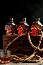 Bottles In The Form Of A Skull With Strong Alcohol, Rum, Pirate Mood.