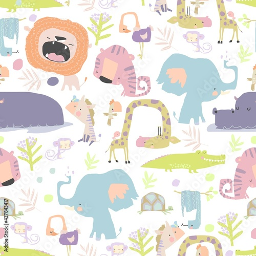 Fototapeta premium Seamless pattern with color wild animals on white background