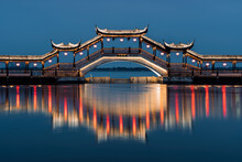 Landscapes Of The Ancient Buildings In Jinxi At Night,  A Historic Canal Town In Southwest Kunshan, Jiangsu Province, China