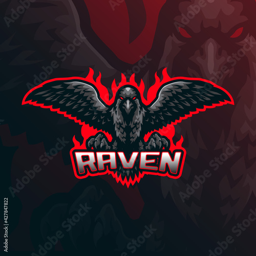 Fototapeta premium Raven mascot logo design vector with modern illustration concept style for badge, emblem and t shirt printing. Angry raven illustration for sport team.