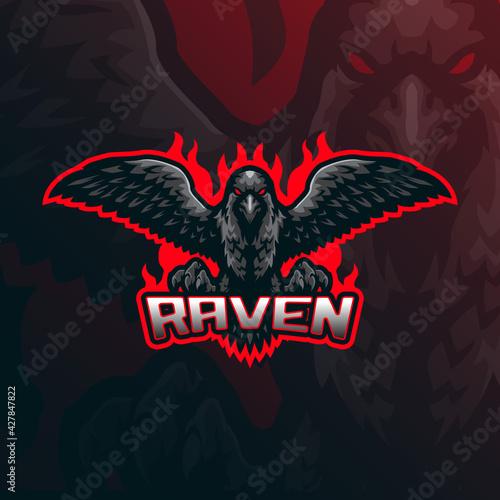 Naklejka premium Raven mascot logo design vector with modern illustration concept style for badge, emblem and t shirt printing. Angry raven illustration for sport team.