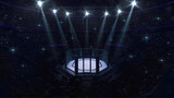 Cage fight arena. Audience view of fighting arena with fans and shining spotlights. Digital sport 3D illustration.