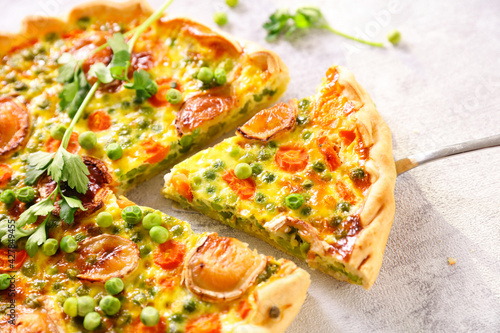 pea, carrot and cheese quiche