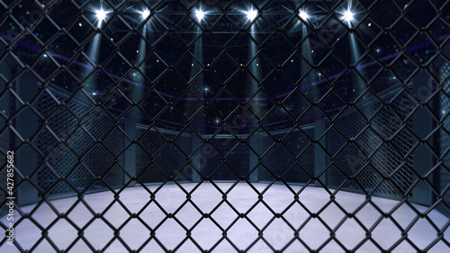 Fototapeta Cage fight arena behind the chain link fence. Interior view of fighting arena with fans and shining spotlights. Digital sport 3D illustration. obraz