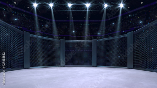 Fototapeta In the fighting cage. Interior view of sport arena with fans and shining spotlights. Digital sport 3D illustration. obraz