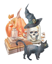 Watercolor Witch Illustration: Black Cat, Mushrooms, Scull, Pumpkin, Bottle, Magic Books, Witch Hat. Halloween Scary Composition. Isolated On White Background