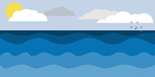 Vector Marine Background. Stormy Sea, Ocean With Seagulls, Waves And Clouds. Vector Illustration.