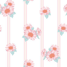 Vector Cute Pastel Sunflower Bouquets On Soft Stripes Seamless Pattern Background. Perfect For Fabric, Scrapbooking And Wallpaper Projects.