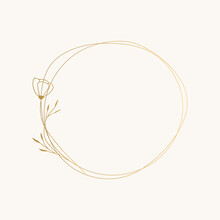 Hand Drawn Circle Frame With Beautiful Flowers. Vector Unique Illustration.