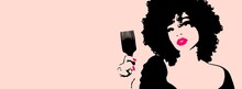 Beauty Illustration Of A Black Woman Combing Her Afro Hair With A Big Comb.