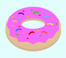 Donut With Pink Icing And Colored Donut Sprinkle. On A Light Blue Background. Food, Dessert And Sweets.