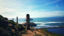 Sutro Bath Ruins In San Francisco California Against Blue Hazy Sky