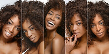 Collection Of Different Beauty Portrait Of African American Woman With Clean Healthy Skin On Beige Background. Smiling Beautiful Afro Girl.Curly Black Hair