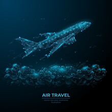 3d Airplane Flying Over Clouds. Digital Vector Airliner In The Sky. Air Travel, Airline Transportation Concept. Low Poly Dark Blue Wireframe With Dots, Lines And Flying Particles Look Like Debris