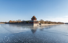 North East Watchtower To The Forbidden City On A Freezing Cold Winters Morning In Beijing