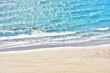 Atlantic Ocean Waves On Fuerteventura Canary Island In Spain Top View