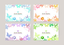 Vector Card Design Template With Colorful Flowers And Butterflies, Watercolor Decoration On White Background Set