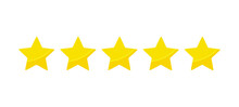 Yellow Five Stars Quality Rating Icons. Vector Illustration.
