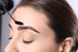 canvas print picture Beautician brushing woman's eyebrows after tinting on light background, closeup