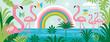 Flamingo , rainbow, palm leaves. Cartoon vector illustration, horizontal banner.