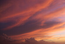 Colorful Sunset In The Sky, Heaven With Red Pink And Purple Clouds In The Dawn, Dramatic Atmosphere In The Sky
