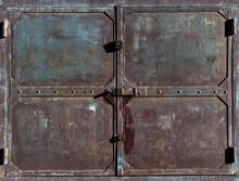 Old Battered Metal Garage Doors.