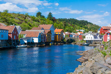 The Beautiful Heritage Village Of Sogndalstrand In Rogaland, Norway